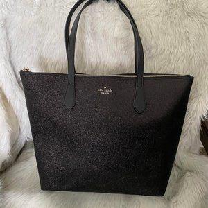 Kate Spade Joeley Large Black Glitter Tote Bag